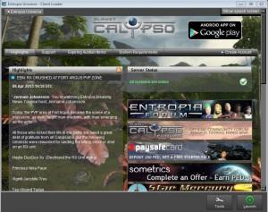 окно запуска Entropia Universe