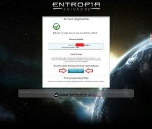 Entropia Universe account confirmation