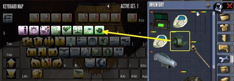 перенос предмета из инвентаря на кнопку в Entropia Universe