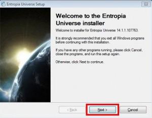 Entropia Universe installer1