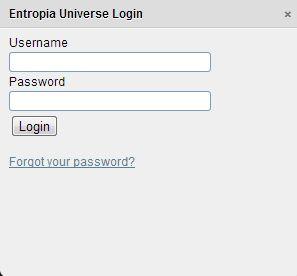 ввод пароля на сайте entopia universe
