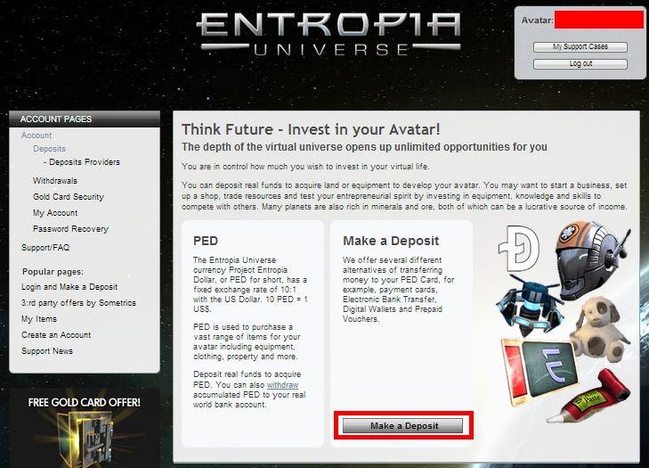 делаем депозит в Entropia Universe
