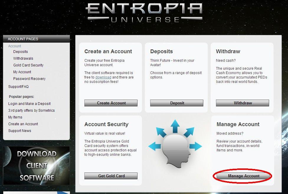 entropia universe manage account